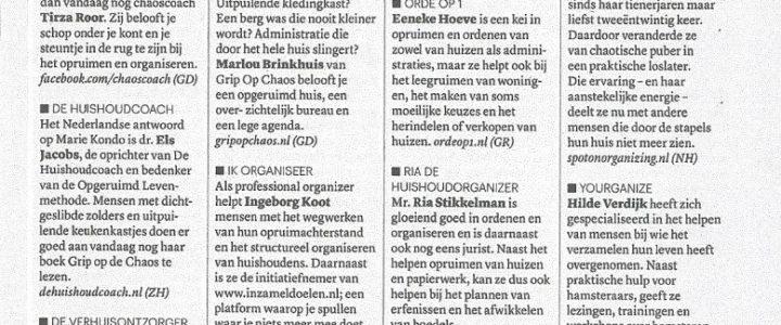Ria de Huishoudorganizer in het blad Eigen Huis en Interieur